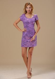 Hartford Purple Scoop Neck Prom Mother Of The Bride Dresses with Short Sleeves