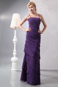 Dark Purple Spaghetti Straps Chiffon Dress For Prom Queen with Ruffled Layers Skirt