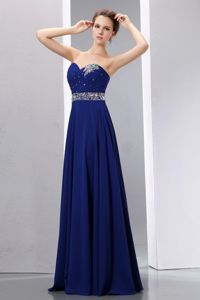 Santa Fe Sweetheart Beaded Sash Royal Blue Prom Cocktail Dress in Floor-length