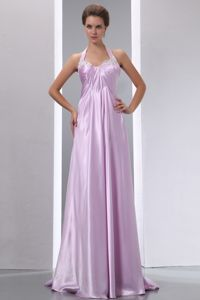 Albany Lavender Halter Neck Appliques Prom Dress with Brush Train