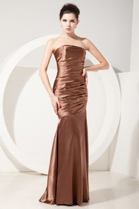 Oklahoma Brown Strapless Mermaid Prom Pageant Dress by Ruched Taffeta
