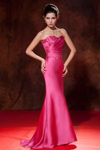 Salem Hot Pink Pleated Bodice Prom Dama Dresses for Quinceanera in Mermaid Style