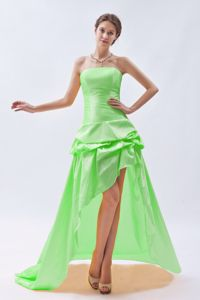Madison WI High-low Spring Green Strapless Prom Dress with Pick-up Skirt