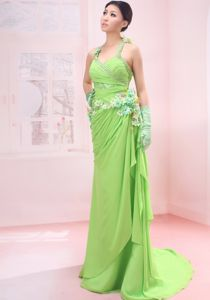Spring Green Beaded Decorate Shoulder Madison Prom Bridesmaid Dress with Brush Train
