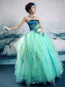 Royal blue and Turquoise Handmade Flowers Strapless Vermont Prom Pageant Dress
