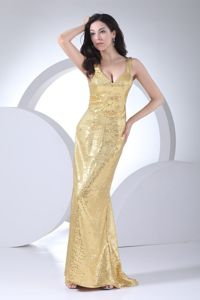 Gold Straps Brush Train Prom Concord Mother Of The Bride Dresses by Sequined Fabric