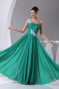 Floral Appliques Pleated One Shoulder Annapolis Prom Celebrity Dress in Green