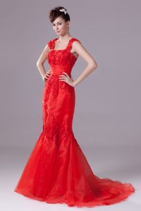 Straps Beaded Appliques Mermaid Style Prom Gown in Red color for Indianapolis