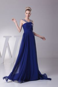 Beading and Ruches Springfield Prom Dresses with Sweep Train by Royal blue Chiffon