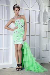 One Shoulder High-low Prom Gown Dress in Spring Green with Appliques