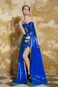Royal Blue Sweetheart Brush Train Prom Dresses with Slit and Appliques