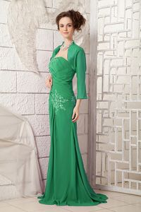 Ruched One Shoulder Floor-length Green Dresses for Prom with Appliques