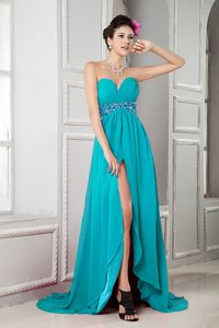 Perfect Teal Sweetheart Brush Train Prom Dresses with High Slit in Dragoon