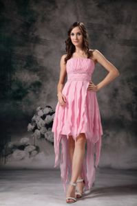 Perfect Rose Pink Short Prom Dresses with Beading and Ruching in Globe