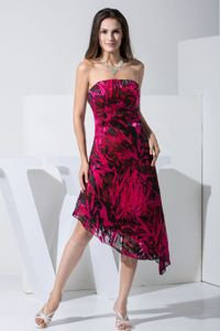 Strapless Printed Formal Prom Dresses in Red and Black in Gold Canyon