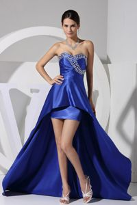 Royal Blue Sweetheart Asymmetrical Prom Gown with Beading in Douglas