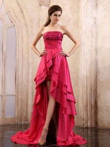 Strapless Asymmetrical Prom Gown Dresses in Coral Red with Sequins