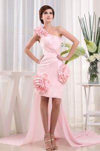 One Shoulder Semi-formal Prom Dresses in Pink with Hand Made Flowers