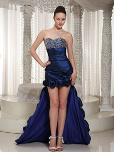 Royal Blue Beaded Formal Prom Dresses with Longer Back in Clarkston
