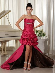 High-low Prom Dresses in Wine Red with Beading and Ruching in Buckley