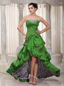 Sweetheart High-low Dress for Prom in Green with Beading in Greenwater