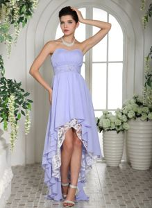 Lavender Strapless Asymmetrical Prom Dresses with Ruches and Lace