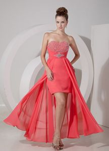 Watermelon Red High-low Formal Prom Dresses with Ruches and Beading