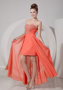 Sweetheart High-low Sexy Orange Red Prom Outfits with Beading in Bethel