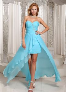 Cheap Aqua Blue High-low Sweetheart Prom Attire with Ruches in Ashford
