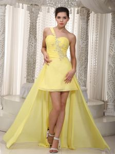 Graceful One Shoulder High-low Yellow Formal Prom Dress in Anacortes