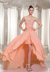 High-low Prom Dress in Peach Pink with Beading and Ruching in Chewelah