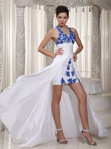 Taffeta White Halter High-low Sheath Prom Attire with Appliques in Camas