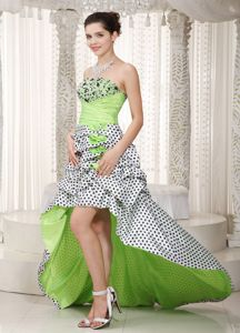 Multi-color Strapless High-low Dress for Prom with Appliques in Graham