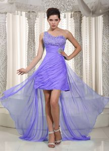 Purple One Shoulder High-low Prom Gown Dress with Beading and Rushing