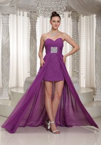 Sweetheart High-low Prom Outfits in Bright Purple with Beading in Eltopia