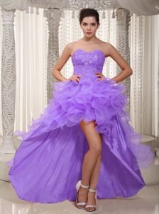 Lavender High-low Sweetheart Beaded Prom Gown with Ruffled Layers