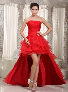 Red Strapless Ruched Ruffled Layers Accent Prom Attire Detachable