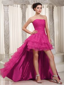 Detachable Ruffled Layers Prom Dresses for Long Girls in Hot Pink