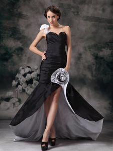 One Shoulder Taffeta High-low Prom Gown Dress with Flower Accent