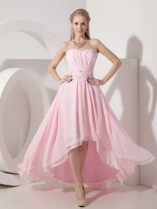 Pink Sweetheart High-low Prom Dresses for Petite Girls in Glenfinnan