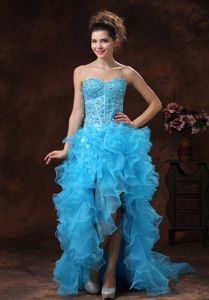 2014 Aqua Blue Dress for Prom with Ruffled Layers and Rhinestone