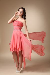 New Watermelon Asymmetrical Strapless Prom Gowns with Ruche