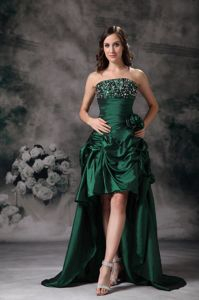 Tasty Dark Green Prom Outfits with Beads and Hand Made Flowers