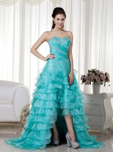 Chic Turquoise High-low Prom Gown Dress with Beading and Layers