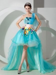 Cheap High-low One Shoulder Prom Dress with Hand Made Flowers