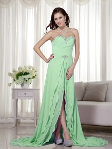 High Slit Detachable Chiffon Apple Green Prom Dresses Under 150