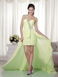 Yellow Green One Shoulder Beaded Dresses for Prom in Swavesey
