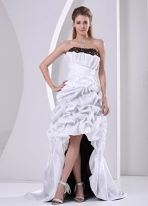 Discount White Strapless Beaded Prom Gown Dress with Pick-ups
