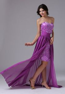 Classic Purple Detachable Sweetheart Prom Outfits with Rhinestone