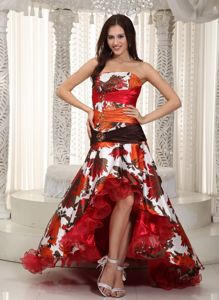 Best Floral Print High-low Beaded Ruched Prom Dress for Slim Girls
